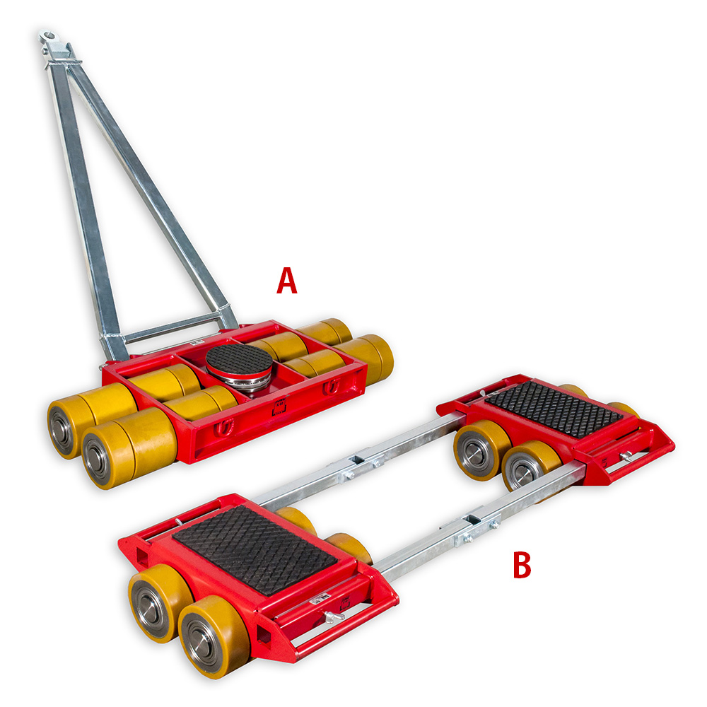 The picture shows the steerable machine skates model A60 and straight-line load roller skates model B60 to move heavy machines.