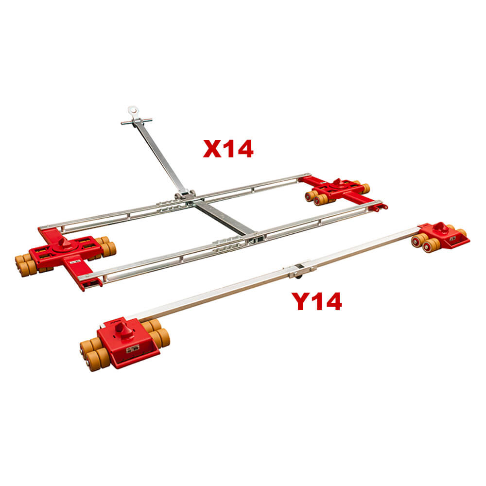 Use the steerable dolly JUNG model X14 and straight-line skate model Y14 to move heavy shipping and freight containers