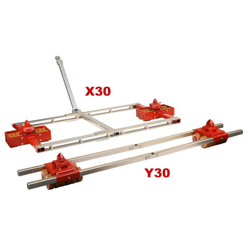 Use the steerable container dolly model X30 and straight-line container dolly Y30 to move heavy shipping and freight containers